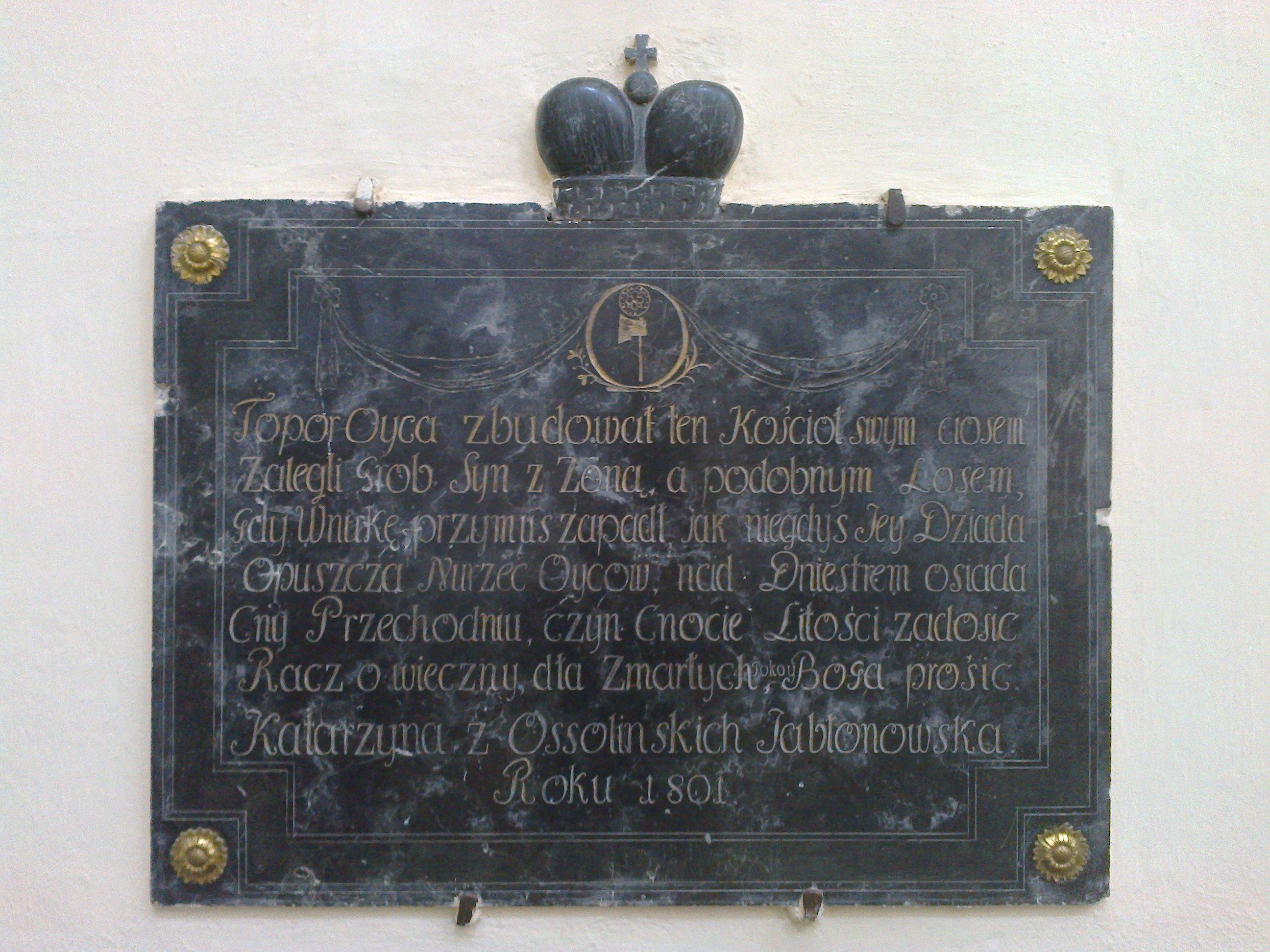 Tablica grobowa Katarzyny zOssolińskich Jabłonowskiej zm. 1801 r.