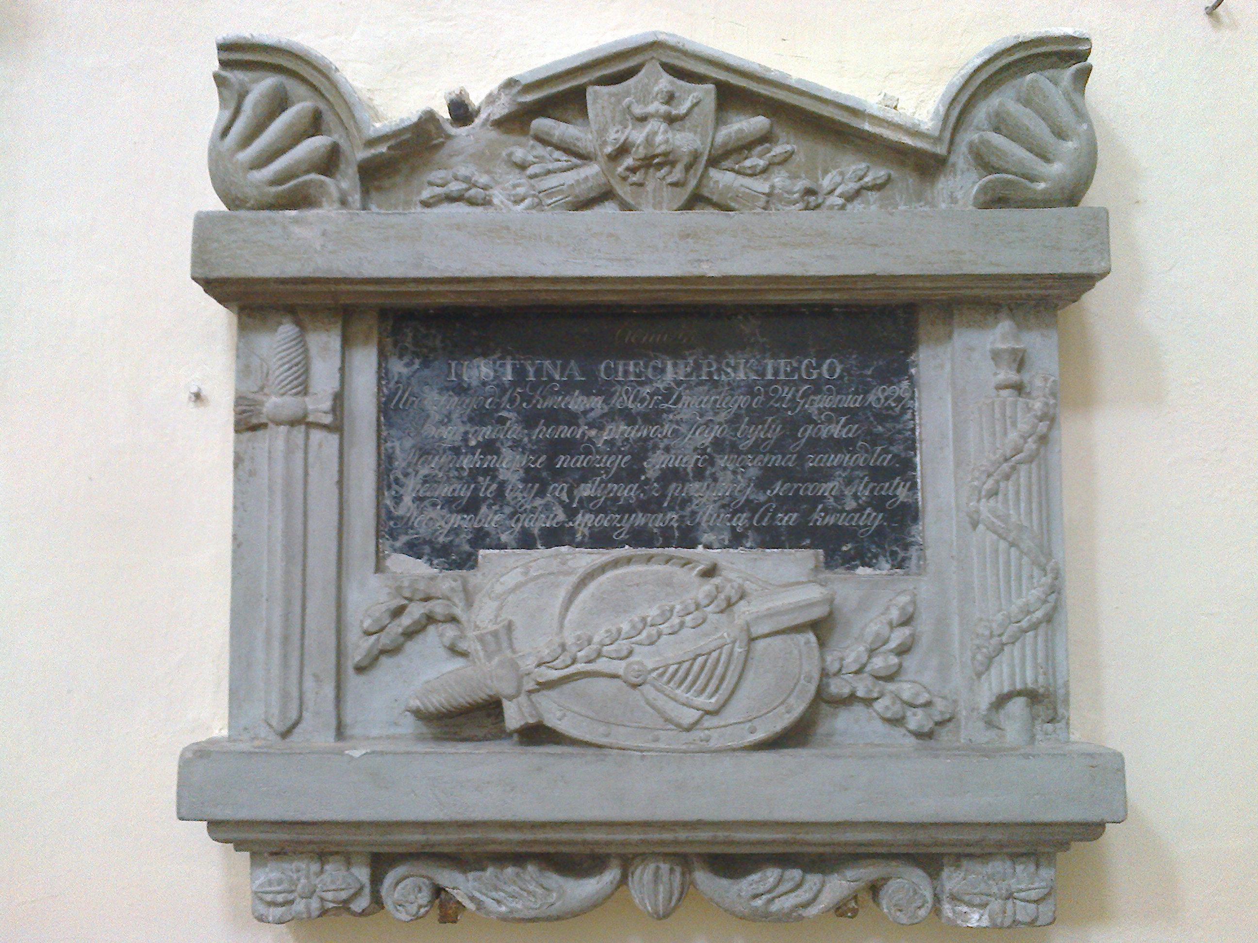 Tablica grobowa Justyna Ciecierskiego zm. 1805 r.
