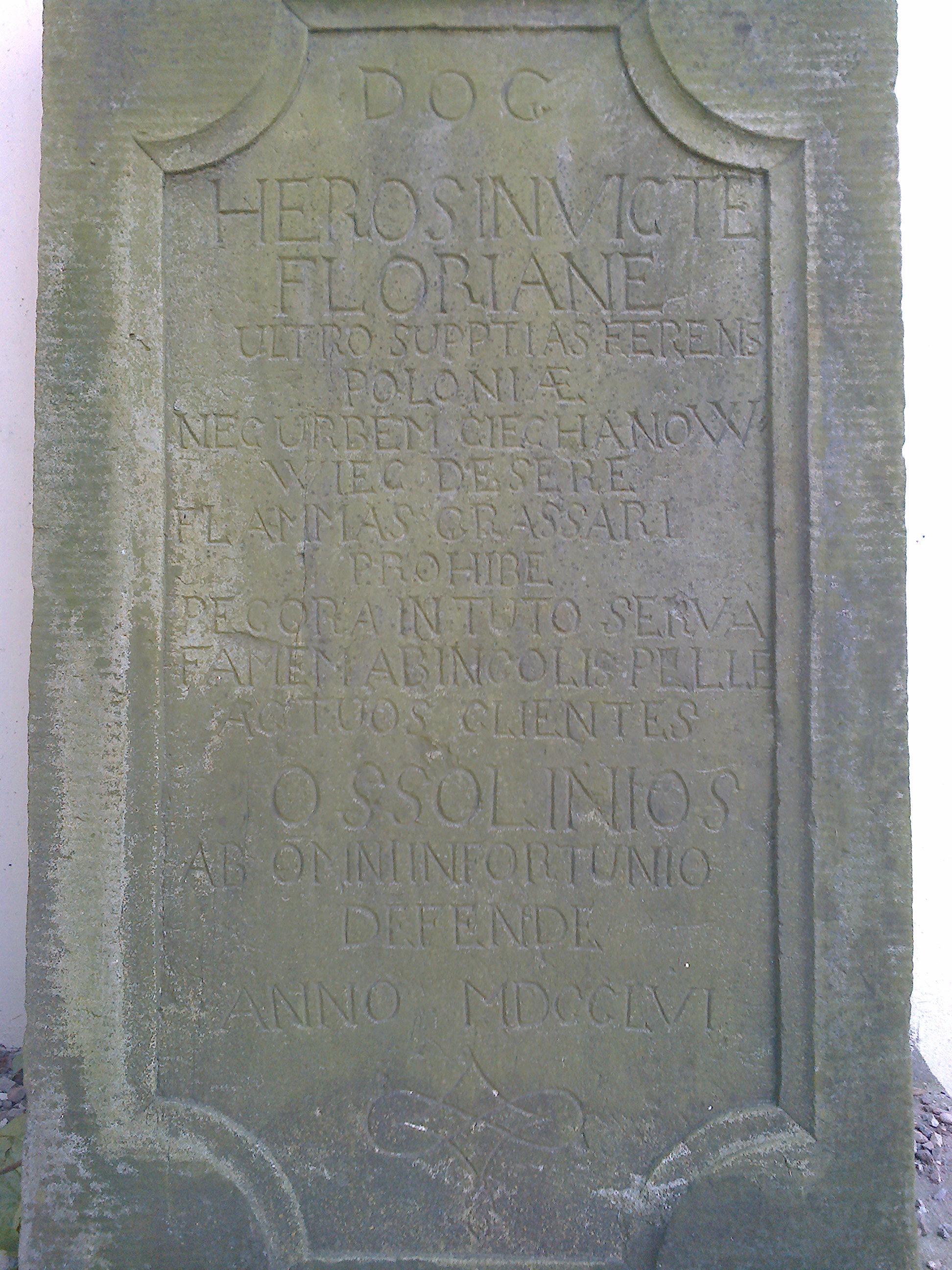 Tablica grobowa Floriana Ossolińskiego zm. 1756 r.